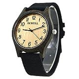 Bewell W124B Casual Style Herren Canvas Uhrenarmband Leichte Armbanduhr mit Zifferblatt aus edlem schwarzem Sandelholz