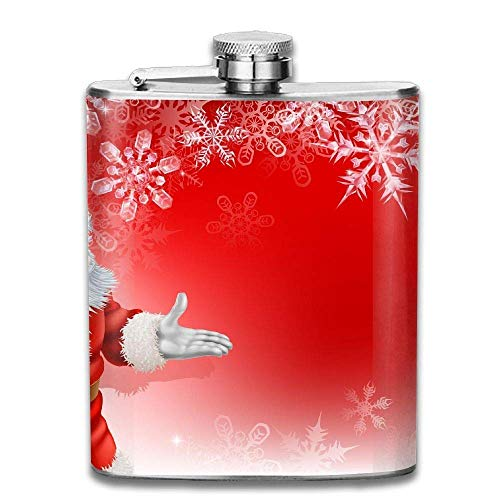Santa Claus and Snow Fashion Portable Stainless Steel Hip Flask Whiskey Bottle 7 Oz