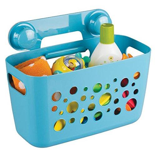 mDesign - Accesorios de baño sin taladro - Soporte para ducha con ventosas - Cesta de ducha ideal como organizador de champús y geles para nuestro cuidado diario - Color: Azul