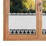 SeGaTeX home fashion Scheibenhänger Landhausstil Rebecca Echte Plauener Spitze 3588 Scheibengardine mit Käseleinen-Struktur Panneau weiß