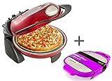 Smart Pizzaofen – 30,5 cm Pizza Maker Bundle mit gratis Käsereibe – drehbarer Stein & Grill – einfach zu bedienende Pizza-Maschine für Tabletops SSPM4000 - rot