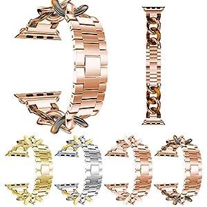 BZLine Armband Edelstahl Ersatz Uhrenarmband | Für Apple Watch Series 4 40mm/44mm | Stilvolles Zartes und Elegantes Schauen | Handgelenkgröße: 180-210 mm | Schwarz, Gold, Roségold, Silber