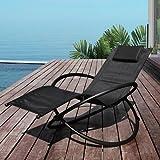 Garden kraft 19180 Benross Louis moon Rocker Lounger Garden Chair with Pillow - Black
