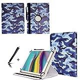 JP-WELT Tablethülle für Jay-tech TXE10DW2 Schutzhüllen Tablet Case Tasche Hülle - 10.1 (10.5) Zoll Tarnung/Blau Camouflage
