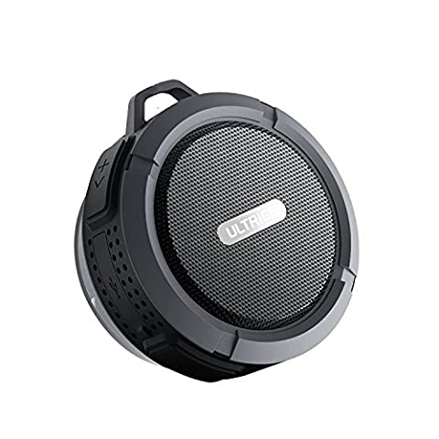 ULTRICS® Haut parleurs Bluetooth, haut-parleur sans fil portatif d'extérieur / de douche avec la fonction imperméable à l'eau d'IPX4 CE ROHS FCC certifié Technologie de Bluetooth 4.0 Construit dans le microphone mains libres avec la cuvette d'aspiration 100% Satisfaction Guarantee