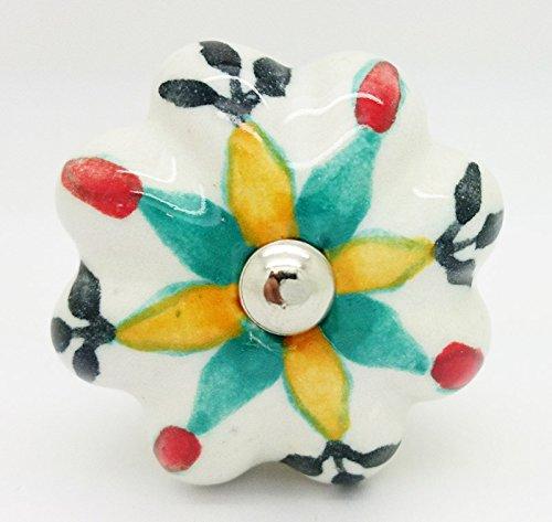 multicolores Melon Fleur Poignée de porte en céramique vintage shabby chic Placard Tiroir Poignée de traction 4543