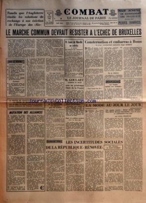 COMBAT [No 5785] du 30/01/1963 - TANDIS ...