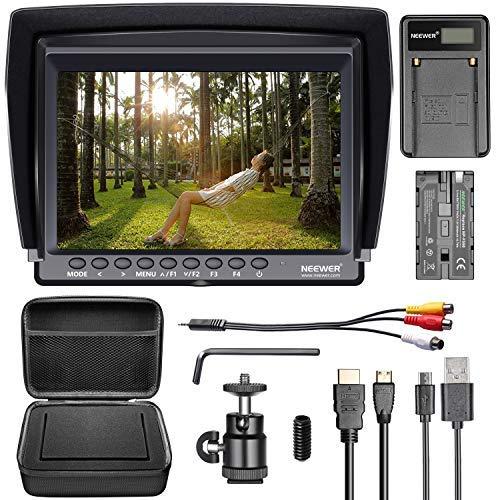 Neewer Kit di Monitor per CameraMonitor da 7 Pollici Definizione Alta IPS 1280x800+F550 Batteria/Caricabatterie Micro USB/Custodia per Sony Canon
