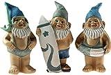 BWG Set von 3Blau 18cm Neuheit Garden GNOME Ornaments Figuren-Mankini, Surf, Ring