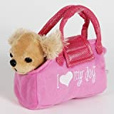 Cuddly Puppies Soft Plush Fancy Pet Carrier Puppy in a Purse Carrying Bag Toy (Assorted)
