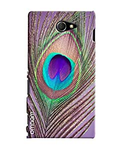 Omnam Peacock Leaf Closeup Printed Designer Back Cover Case For Sony Xperia M2