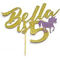 """Birthday Custom """"Name is age"""" Cake Topper with Decorative Unicorn. Birthday Party Decoration. Personalised with Name and Age. Any Glitter Colour. Years Old. Any Age Birthday Celebration."""