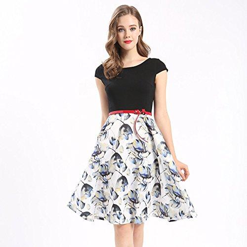 JIALELE Frauen täglich Ausgehen Urlaub Vintage niedlichen Anspruchsvollen eine Linie knielangen kleid, Blumenmuster Rundhals, Kurzarm, schwarz, M (Vintage Niedlichen Kleid)