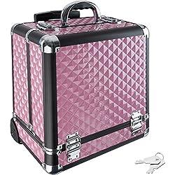 TecTake Kosmetikkoffer Trolley Schminkkoffer Beauty Case Hartschale Schmuckkoffer Friseurkoffer - diverse Farben - (Pink)