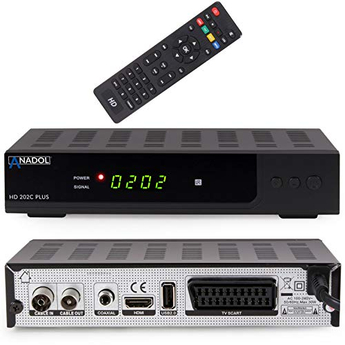 Anadol HD 202c Plus digitaler Full HD 1080p Kabel Receiver [Umstieg Analog auf Digital] (HDTV, DVB-C/C2, HDMI, SCART, Mediaplayer, USB 2.0) - schwarz