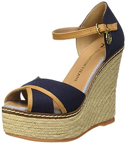 Trussardi Jeans 79S06349 Sandali con cinturino alla caviglia, Donna, Blu (48 Blu), 39