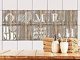 GRAZDesign 770503_15x15_FS20st Fliesenaufkleber Holz Home Sweet Home für Bad oder Küche | alte Küchen-Fliesen überkleben | Fliesenbild selbst gestalten (15x15cm//Set 20 Stück)