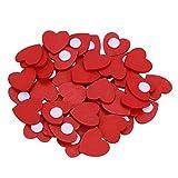 Demiawaking 100pcs Mini Adesivo Cuore Rosso in Legno DIY Accessori per Scrapbooking Decorazioni Natalizie Ornamenti per Festa Nozze