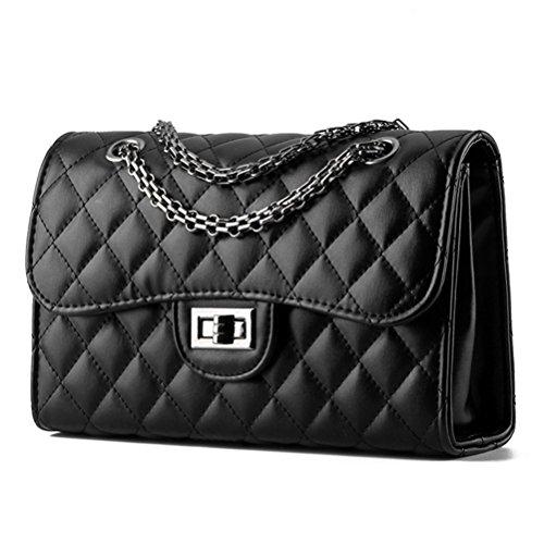 Honeymall Donna Borsa a Handbag spalla Borsa Tote Borsa a Mano in pelle di forma del diamante con catena di metallo 27x17x9cm Nero