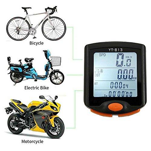 Hangang Bike Computer Wasserdicht Multifunktions-Computer, Wireless Fahrrad Tacho Bike Kilometerzähler 60g Wireless automatische Nachführung, 4Line Display mit Hintergrundbeleuchtung