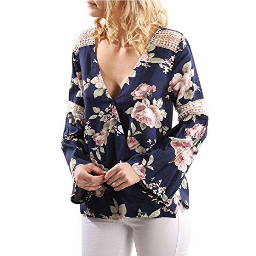 Reaso Femme Dentelle Manches longues Blouse Fleur Imprimer Chemisier V-Neck Chic Tops sexy Shirt Plage Cardigan Tunika