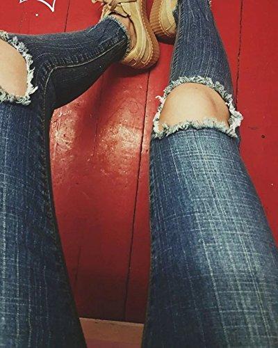 Damen Taillenhosen Ankle Slim dünne Hosen Hosen Füße Blau