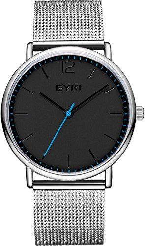 Herren-Armbanduhr - VOEONS - Milanaise Edelstahl Armband Minimalismus Silber/Schwarz D5001L