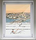 INDIGOS UG Sichtschutzfolie Glasdekorfolie Fensterfolie mit Motiv satiniert blickdicht - E022 schöne Blumen mit Farnen - 1000 mm Länge - 500 mm Höhe Streifen