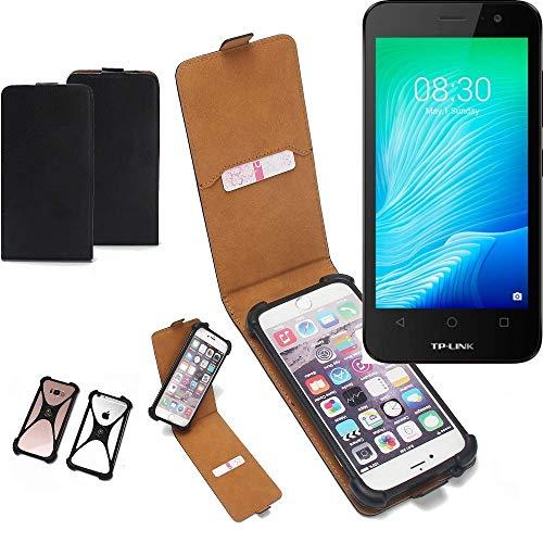 K-S-Trade Flipstyle Case für TP-LINK Neffos Y50 Schutzhülle Handy Schutz Hülle Tasche Handytasche Handyhülle + integrierter Bumper Kameraschutz, schwarz (1x)