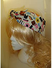 50s Cream Liquorice Allsorts Head Scarf Band Hair Wrap Wire
