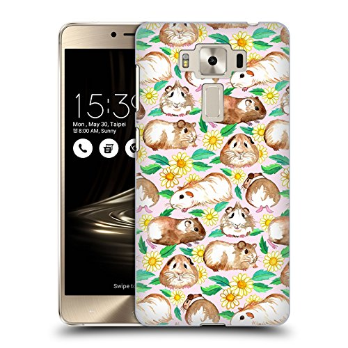 Head Case Designs Offizielle Micklyn Le Feuvre Guinea Pigs and Daisies in Watercolour on Pink Muster 2 Ruckseite Hülle für Zenfone 3 Deluxe 5.5 ZS550KL (Guinea Deluxe Pig)