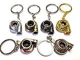 1x Turbo Lader Schlüsselanhänger aus Metall in 6 Farben Schlüssel KFZ PKW G60 G40 VR6 16V Turbolader mit drehendem Schaufelrad Anhänger ca 9,0 Lang & 2,9 Breit (gold)