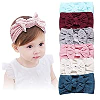 Baby Girl Nylon Headbands, Girl's Hairbands and Bows for Newborn,Toddler,Childrens Hair Accessories (Mixed Bow-6 pack)