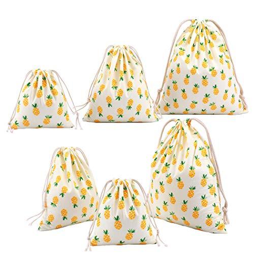 6 unidades bolsas algodón con cuerda organizadore para bebé ropa jug