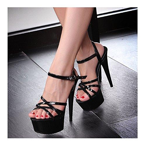 Sandales De Talon Haute Aiguille Escarpin Femmes Plateforme Epais Sexy Soirée Rose1