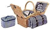 4 und 2 Personen Weiden Picknickkorb Picknickkoffer Set mit Decke, Besteck, Wein Gläser, Teller (4 Perosnen mit Picknickdecke und Kühltasche Braun)