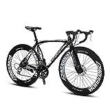 Extrbici - Bicicleta Profesional de Carretera XC700, Ruedas 700 C x 700 MM, Cuadro Talla 54cm de aleación de Aluminio Ligera, Cambio Shimano 2400 con 16 velocidades, Doble Freno de Disco (Black)