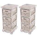 Mendler 2x Regal Kommode mit 3 Korbschubladen 58x25x28cm, Shabby-Look, Vintage ~ weiß