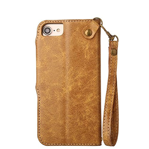 Rose Blume geprägt Flip Stand Case Retro PU-Leder magnetischen Flap Brieftasche Pouch mit Lanyard für iPhone 6 / 6s ( Color : Black ) Khaki