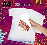 #5: TOTAL HOME: Newest 5/10 Sheets A4 T-Shirt Print Iron-On Heat Transfer Paper Sheets for Dark/Light Fabric 5/10pcs (Size: Pack of 10)