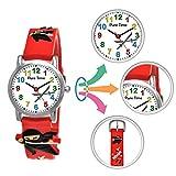 Pure Time® Kinder-Uhr Mädchen-Uhr für Kinder Jungen-Uhr Silikon-Kautschuk Armband-Uhr Uhr mit 3D Ninja Samurai Waffen Motiv Ninjauhr Lern-Uhr Schul-Uhr Sport-Uhr Schwarz Weiß (Rot)