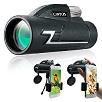 16x50 Monocular Telescope, Cinbos High Powered Monocular Scope for Adult with Smart Phone Adapter and Tripod - Waterproof Fog Proof Single Hand Focus, Wide Angle BAK4 FMC Prisms for Bird Watching/Hunting/Camping/Hiking/Travelling/Surveillance/Concerts/Oth