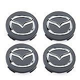 Meow Star Alloy Räder, 4 x 56 mm, für Mazda (Chrom-Logo), 4 x 56 mm, Schwarz