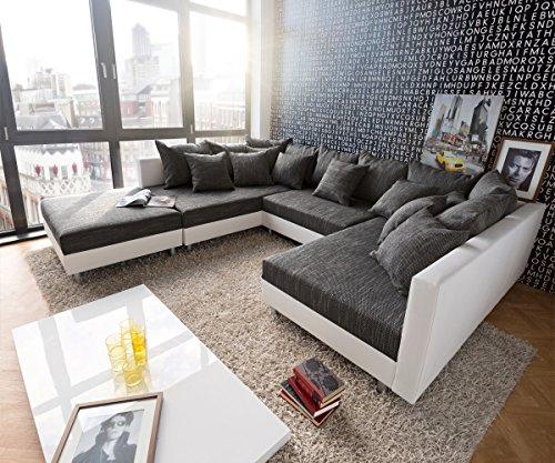 Preisvergleich Produktbild Couch Clovis Weiss Schwarz mit Hocker Wohnlandschaft Modulsofa