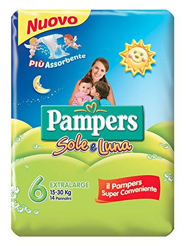 Pampers Sole & Luna extrabreiter Windeln, Größe 6(15-30kg), 14Stück