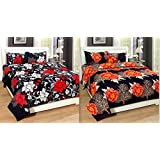 Combo Pack Of Single Size Bedsheet, Combo Set Of 2 Bedsheet And 2 Pillow Covers!Made From Premium Glace Cotton With High Digital Printing By Super Handloom
