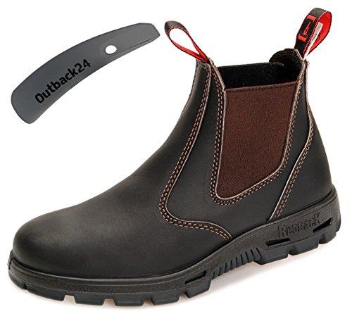 RedbacK BUBOK Work Boots Arbeitsschuhe aus Australien Unisex - Claret Brown - mit schwarzer Sohle + Schuhlöffel (UK 09.0 / EU 43.0)