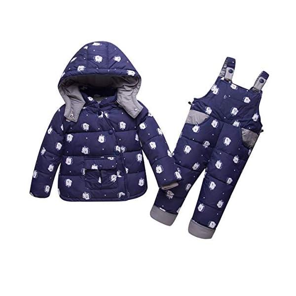 Trajes de esquí para Niños, 2 Piezas Unisexo Chaqueta de Pluma + Pantalones de Nieve Invierno Ropa 1