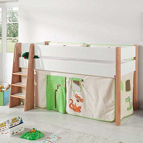 Pharao24 Halbhohes Kinderbett im Vorhang im Dschungel Design online kaufen