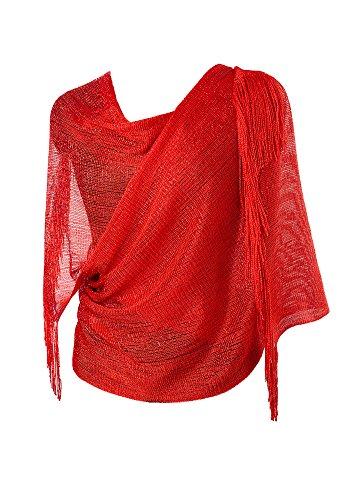 DiaryLook Damen Glitzerschal für Kleider Abendkleider Stola mit Fransensaum in Verschiedenen Farben by (Schal Wraps)